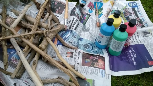 driftwood painting activity for kids